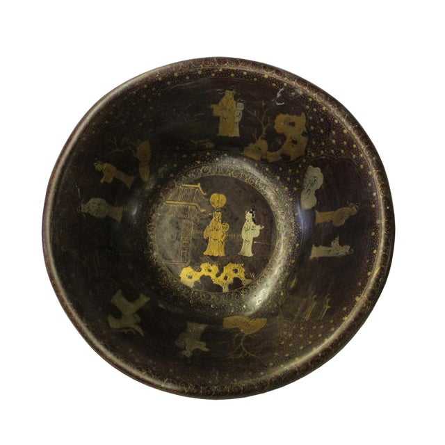 2010s Chinese Hand Painted Golden Scenery Graphic Brown Lacquer Wood Bowl For Sale - Image 5 of 7