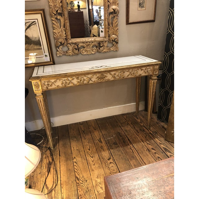 Mid 19th Century Antique Gilded Painted Italian Regency Console Table With Marble Top For Sale - Image 5 of 11