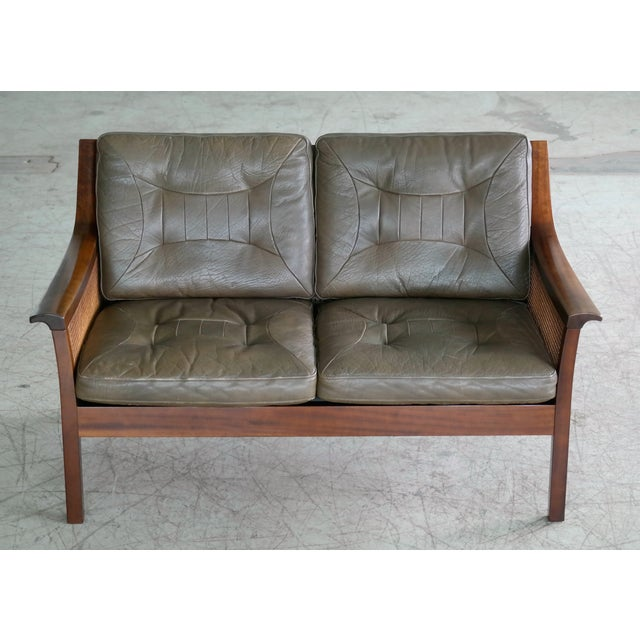 Mid-Century Modern Torbjørn Afdal Settee in Olive Colored Leather and Woven Cane for Bruksbo, 1960s For Sale - Image 3 of 13