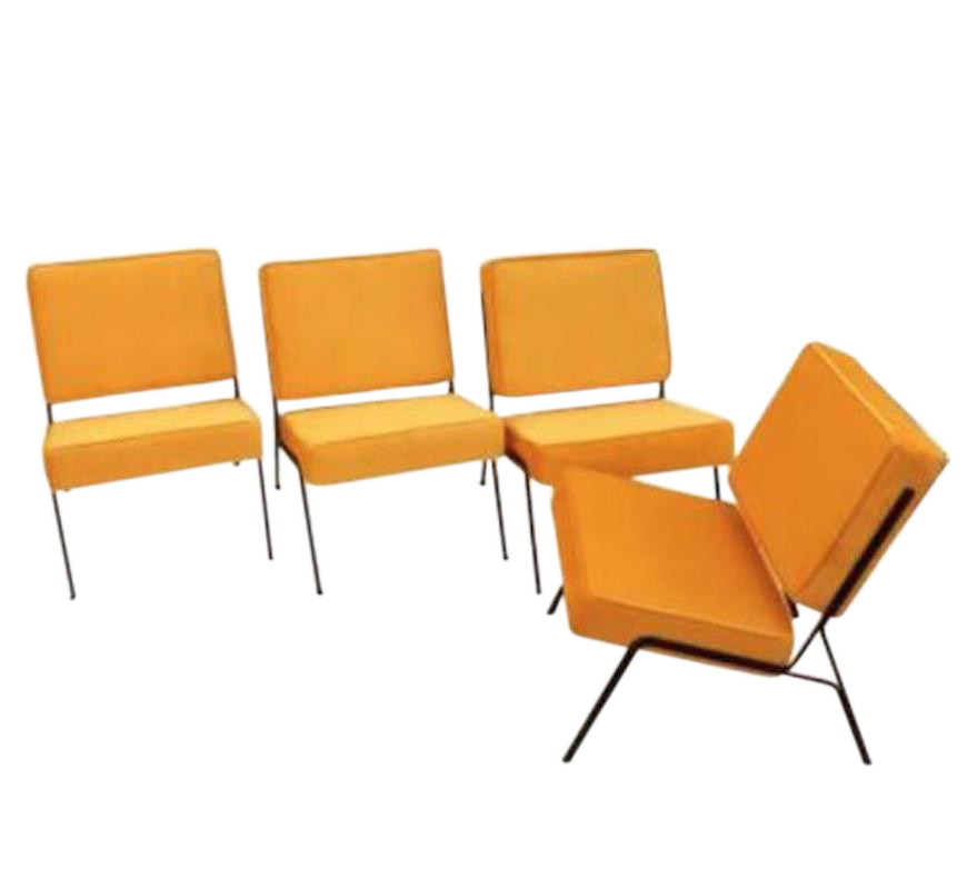 Pierre Guariche Two Pairs Of Mid Century Slipper Chairs In Canary Yellow  Velvet   Image 1