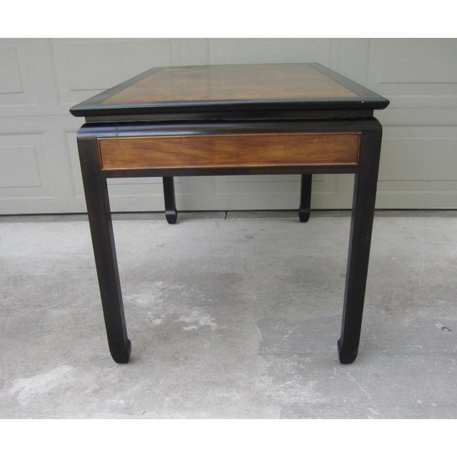 Vintage, Hollywood Regency, Asian modern style burl wood and black lacquer finish chinoiserie writing or executive desk...