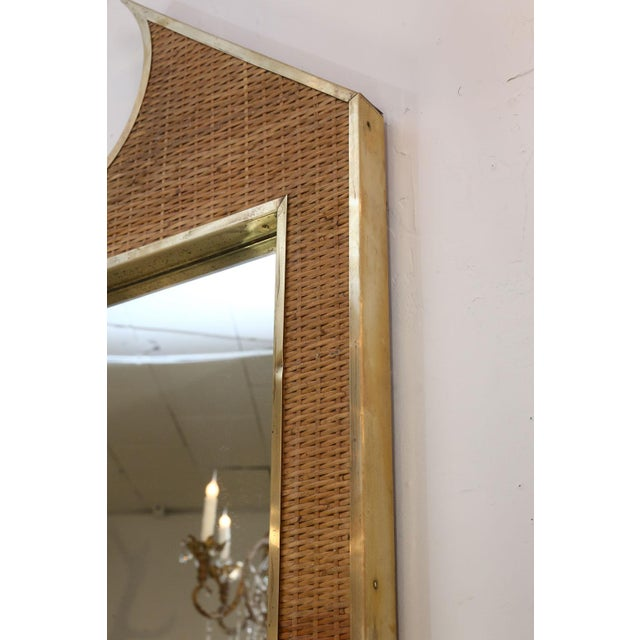 1970s Two Large French Braided Rattan Frame Mirrors For Sale - Image 5 of 10