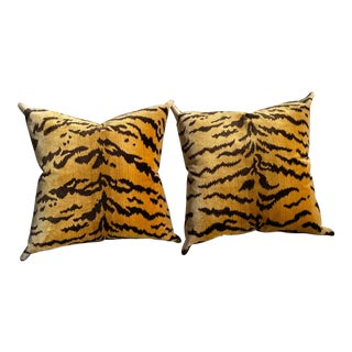 Scalamandré Double Sided Velvet Pillows - a Pair For Sale