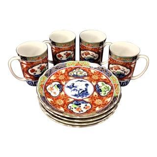 Porcelain Asian Cups & Plates - Set of 8