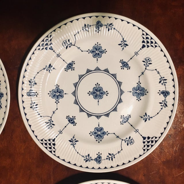 """English made dessert plate set of 7. They are made by """"Franciscan"""" and are dishwasher safe. The plates feature a delicate..."""