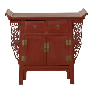 Red Lacquer Cabinet, China c. 1900 For Sale