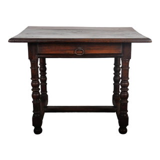1850's French Country Style Walnut Dining Table with One Drawer For Sale