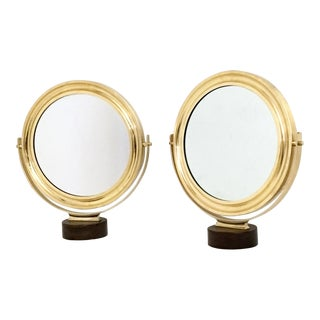 Pair of Vanity Mirrors by Sergio Mazza With a Brass Frame, Italy, 1960s For Sale