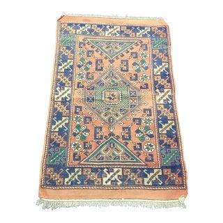 Vintage Geometric Design Aztec Turkish Orange and Blue Rug For Sale