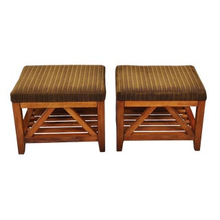 Mission Avenue Studio Solid Wood Stools - a Pair For Sale