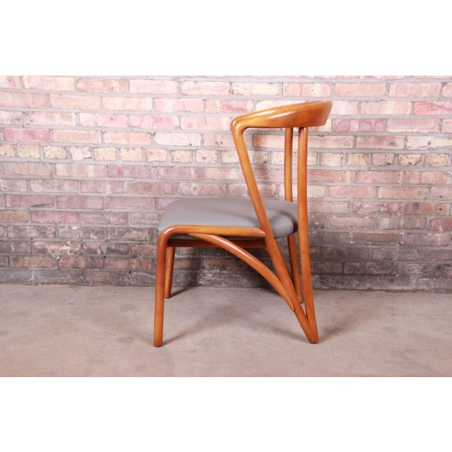 Brown Baker Furniture Mid-Century Modern Sculpted Solid Maple Dining Chairs, Set of Six For Sale - Image 8 of 13