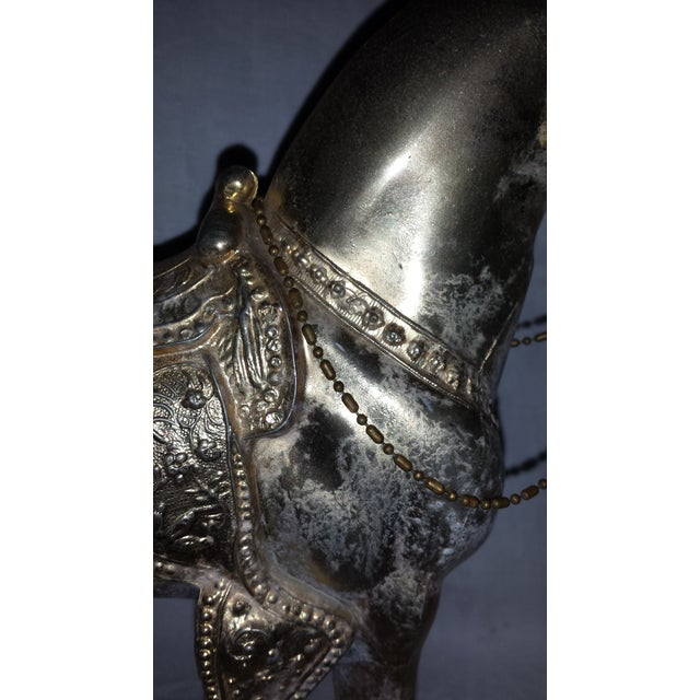 Vintage Metallic Paint Metal Horse Figure For Sale - Image 5 of 7