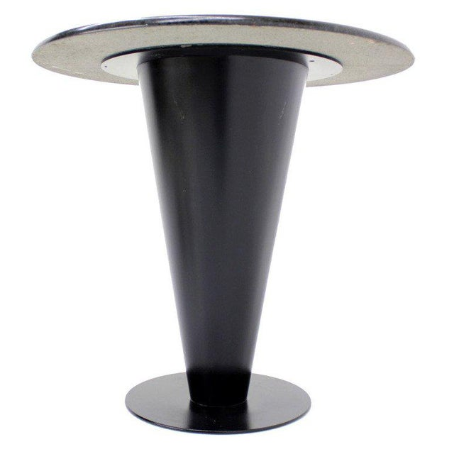 Very nice and solid cone shape metal base black grant cafe table by Apollo Woodworking and Metal corp.