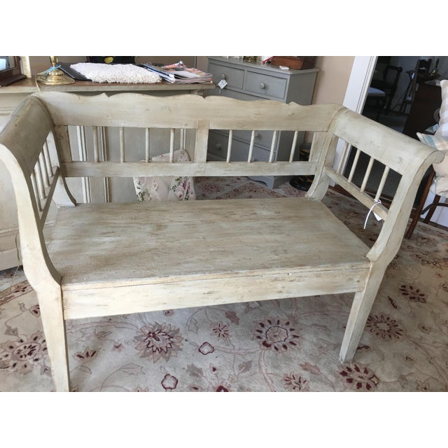 Grey Wooden Bench For Sale - Image 4 of 4