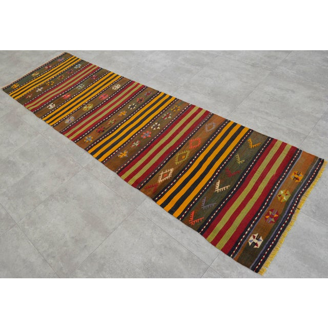 Turkish Kilim Hand Woven Wool Runner Rug - 2′6″ × 8′8 For Sale - Image 4 of 8