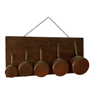 Antique French Copper Pots With Wood Wall Hanger - 6 Pieces