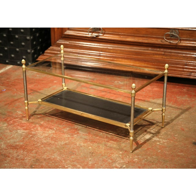 Mid-20th Century French Brass Steel and Leather Coffee Table from Maison Jansen - Image 8 of 9