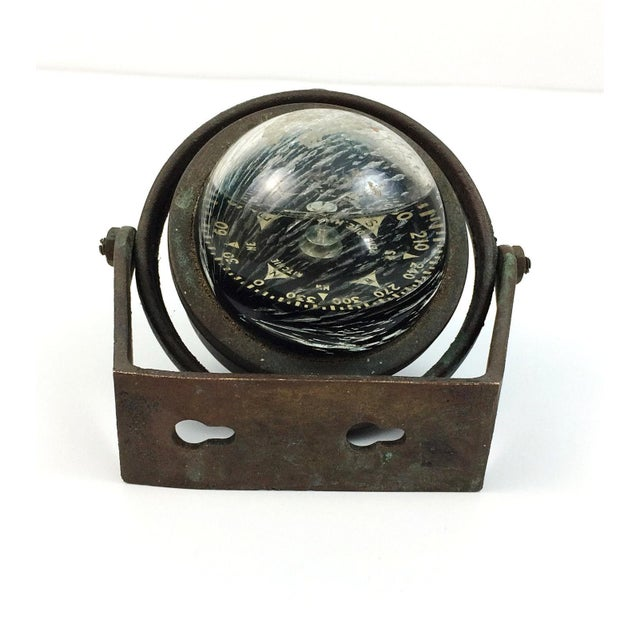 Brass Ritchie Marine Wall Mount Compass For Sale - Image 4 of 5