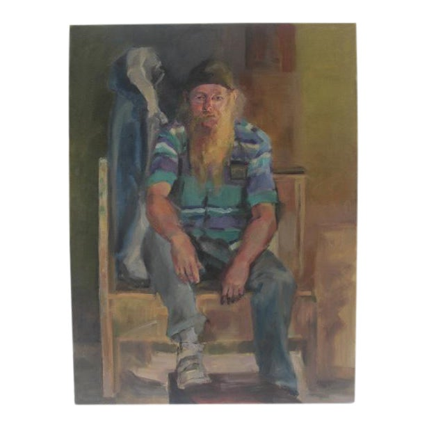 Figurative Painting Of Bearded Man In Striped Shirt - Image 1 of 5