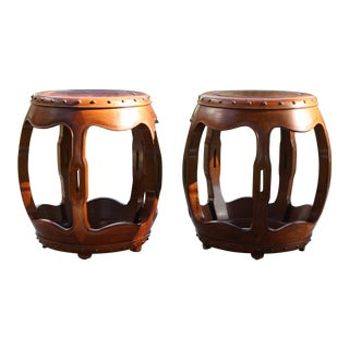 Vintage Asian Rosewood Drum Stools - A Pair