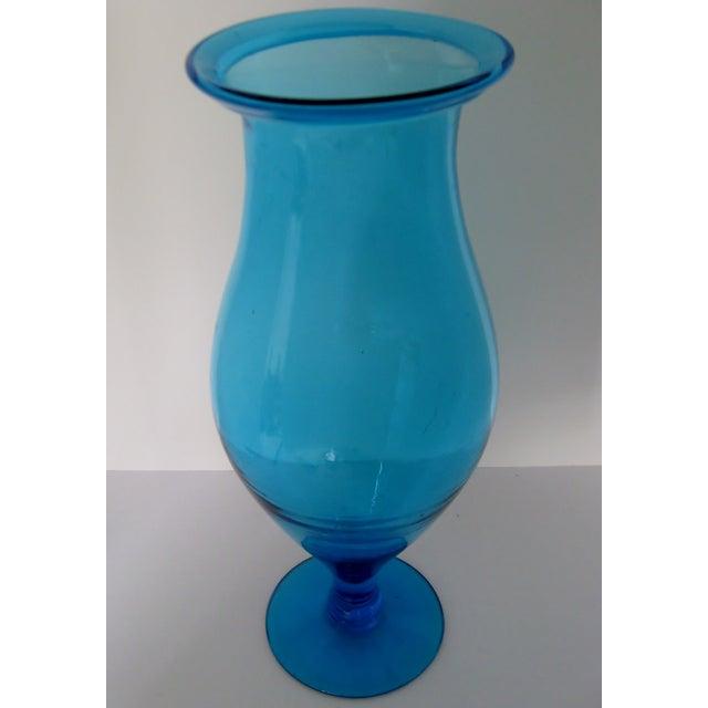 Blenko Turquoise Goblet Vase - Image 4 of 5