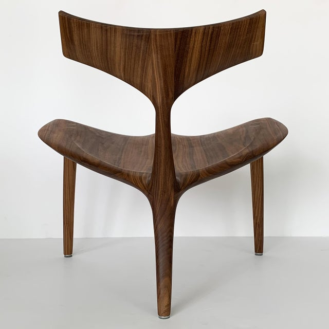 "Wood Sculptural Walnut ""Whale"" Chair Morten Stenbaek For Sale - Image 7 of 13"