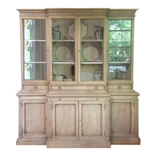 Antique Gray Breakfront Display Cabinet 2-Piece