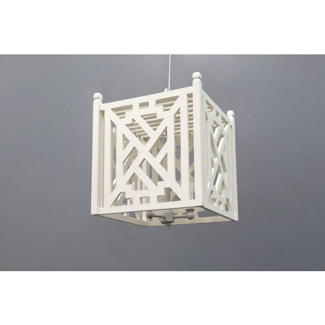 Late 20th Century Modern Wood Geometric Brighton White Cube Lantern For Sale - Image 5 of 9