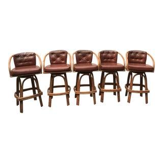 1960s Mid-Century Modern Kalp-Son Rattan Co. Bar Stools - Set of 5 For Sale
