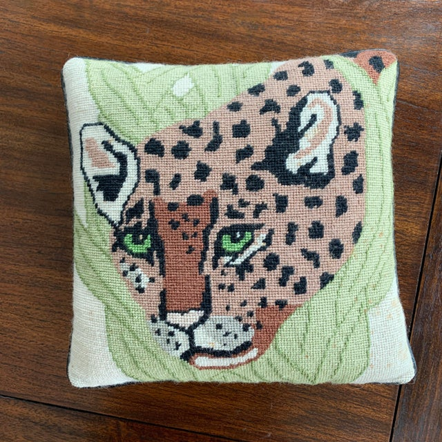 Green Vintage Mid Century Cheetah Needlepoint Pillow For Sale - Image 8 of 8