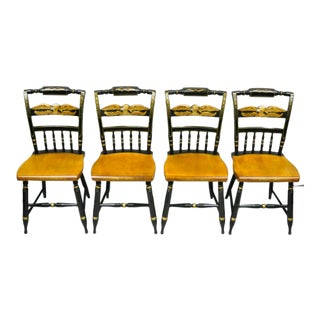 Vintage L. Hitchcock Gold Eagle Stenciled Painted Black Maple Dining Chairs- Set of 4 For Sale