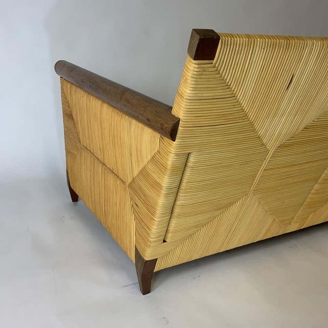 Donghia Rare and Stunning John Hutton for Donghia Mahogany and Wrapped Woven Wicker Sofa For Sale - Image 4 of 13