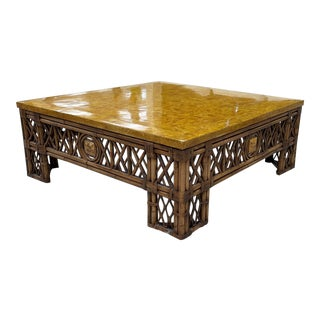 Vintage Bamboo / Rattan Coffee Table With Faux Finished Top For Sale