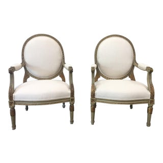 19th Century Italian Painted Arm Chairs With Linen Upholstery - a Pair