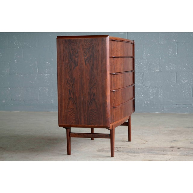 Mid-Century Modern Vintage Danish Mid-Century Rosewood Five-Drawer Dresser For Sale - Image 3 of 11