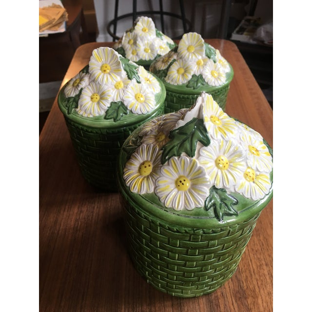 1950s Vintage Green Ceramic Basket Weave Daisy Motif Canisters - Set of 4 Quite possibly the coolest ceramic canister sets...