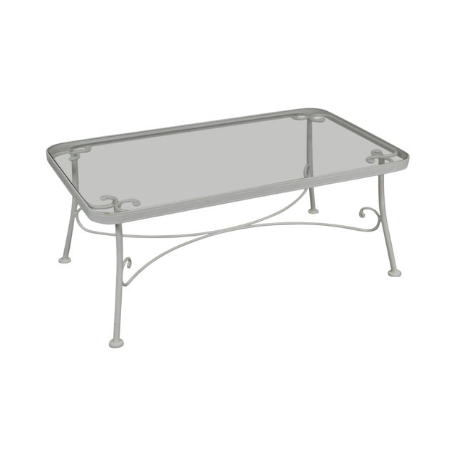 Woodard for Crown Leisure White Wrought Iron Glass Top Patio Coffee Table For Sale