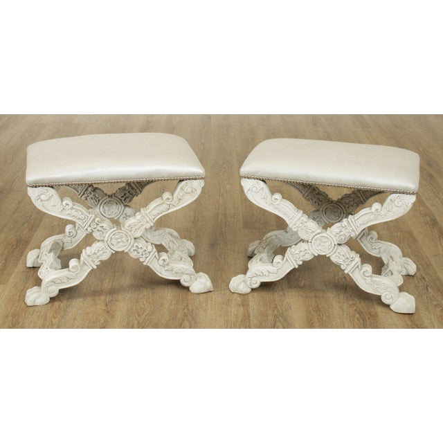 High Quality Pair of Vintage Hand Carved Stools with Newer Leather Upholstered Seats Store Item#: 25417
