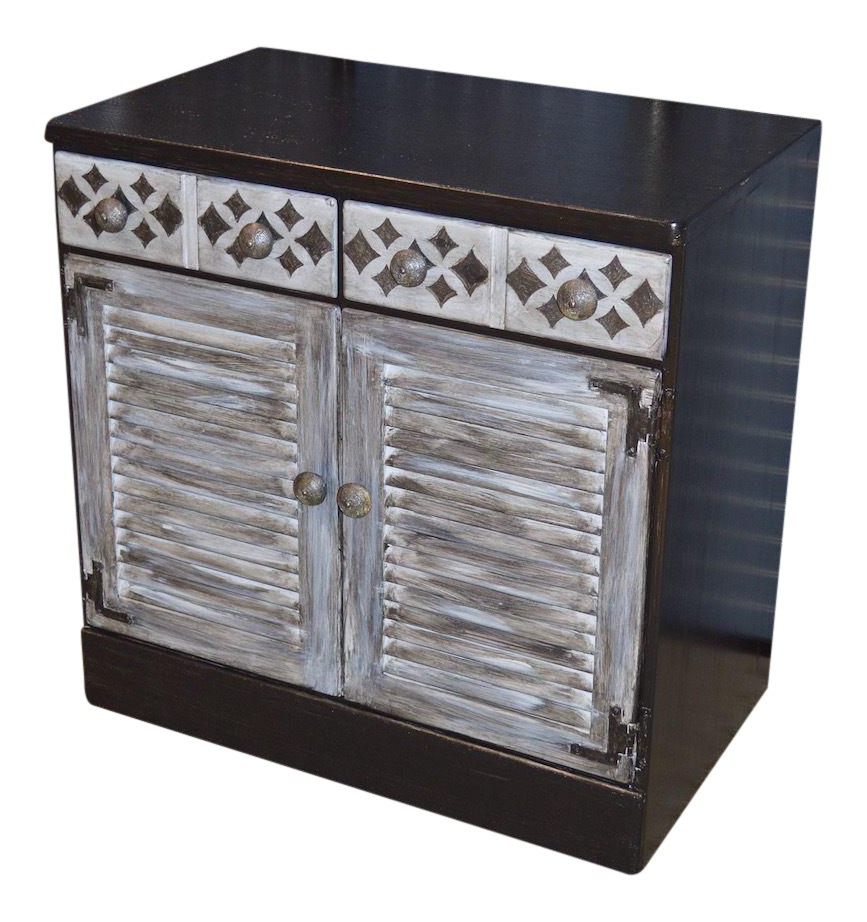 Vintage Industrial Ethan Allen Shabby Distressed Accent Cabinet For Sale