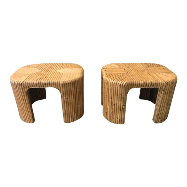 Gabriella Crespi Style Split Reed End Tables - a Pair For Sale