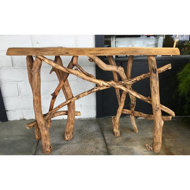 Lodge Live Edge Branch Base Console For Sale - Image 12 of 12