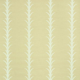 Schumacher X Celerie Kemble Acanthus Stripe Vinyl Wallpaper in Natural For Sale