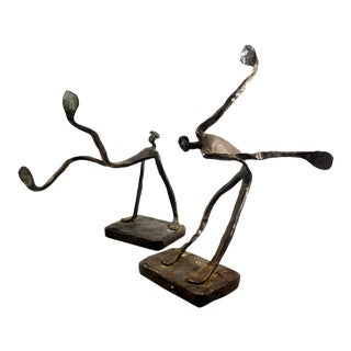 Vintage Mid-Century Art Deco Cast-Iron Abstract Sculptures - A Pair For Sale