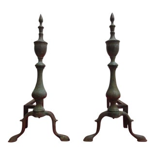 Antique Brass Williamsburg Style Finial Andirons - A Pair