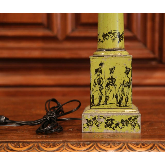 Mid 19th Century 19th Century French Directoire Hand-Painted Green Tole Table Lamp For Sale - Image 5 of 10