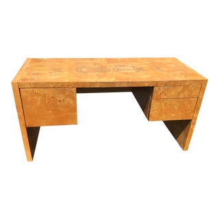1970s Bauhaus Milo Baughman Burl Wood Tanker Desk For Sale