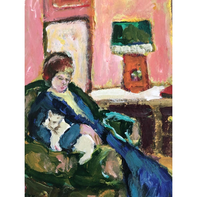 Beautiful painting of a woman and her cat in repose. Impressionistic in style. Bradford is apparently a female artist who...