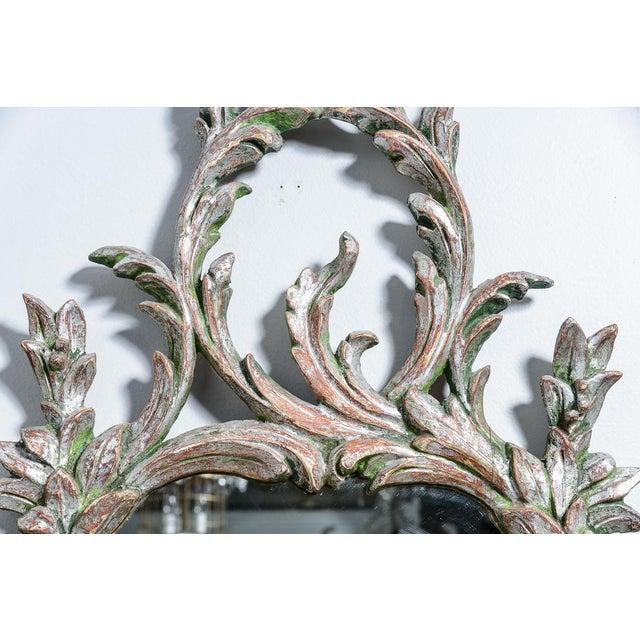 Hollywood Regency Italian Florentine Silver Gilt Wood Mirror For Sale - Image 12 of 13