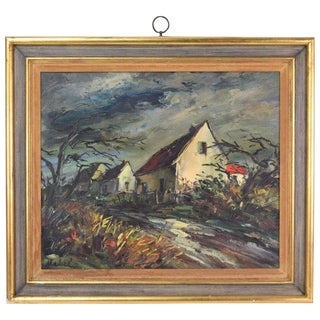 "Mid-Century Expressionist ""Village Street Wind Swept Houses"" Oil Painting Signed Malvel For Sale"