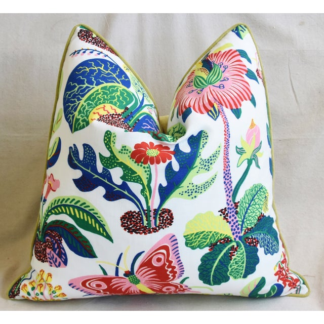 """Early 21st Century Schumacher Exotic Butterfly Floral Feather/Down Pillows 24"""" Square - Pair For Sale - Image 5 of 13"""